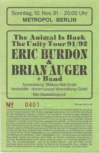 10. November 1991 Eric Burdon & Brian Auger The Unity Tour 91 / 92