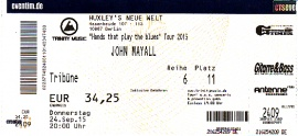 24. September 2015 John Mayall Hands That Play The Blues Tour