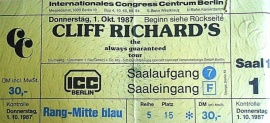 1. Oktober 1987 Cliff Richard the always guaranteed tour